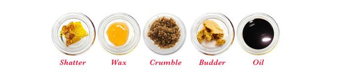 Shatter, Wax, Crumble, Budder, Oil