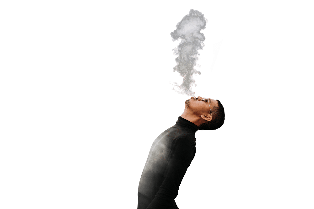 Man Smoking With White Background